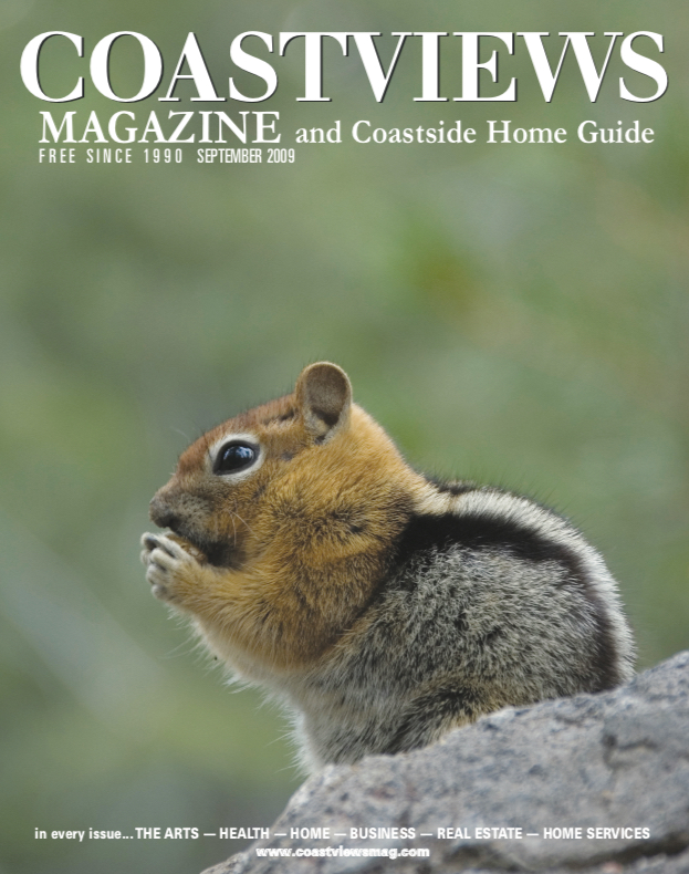 Coastviews Magazine cover, with a picture of a chipmunk